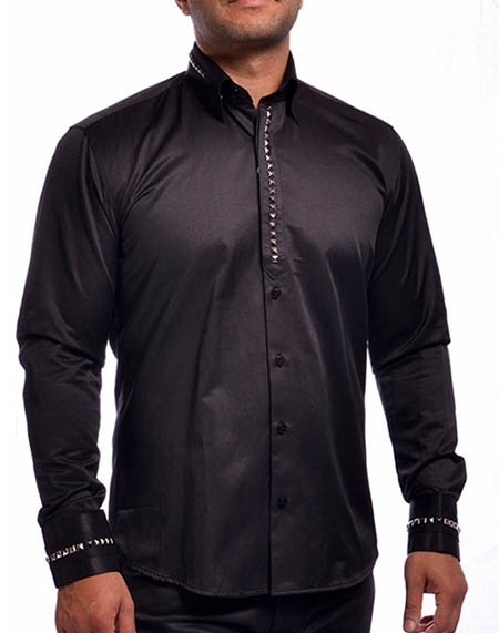 376092f2768b Mondo Men sequin Black Designer Shirt