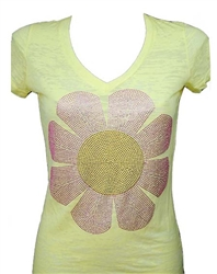 Rawyalty Women Sunflower Burn-out Tee
